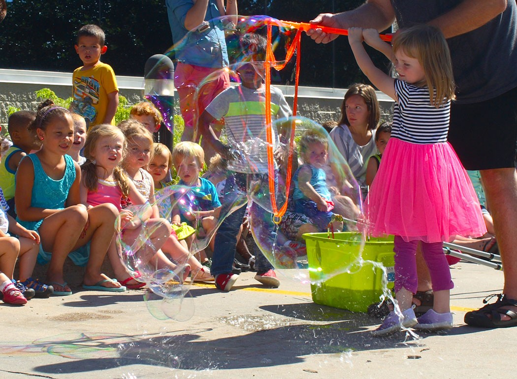 playing with big bubbles